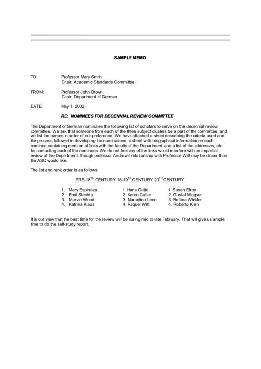 Sample Memo Template Printable pdf
