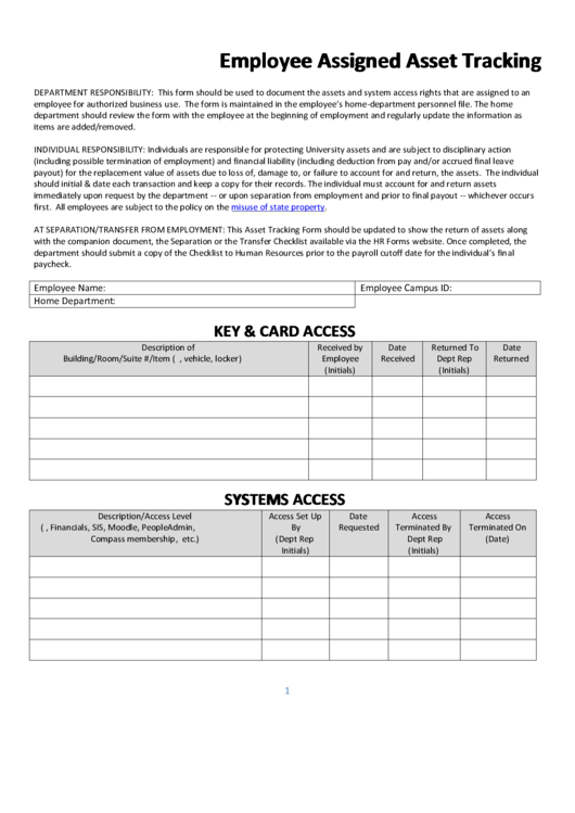 Employee Assigned Asset Tracking Printable pdf