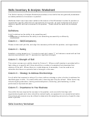 Skills Inventory & Analysis Worksheet