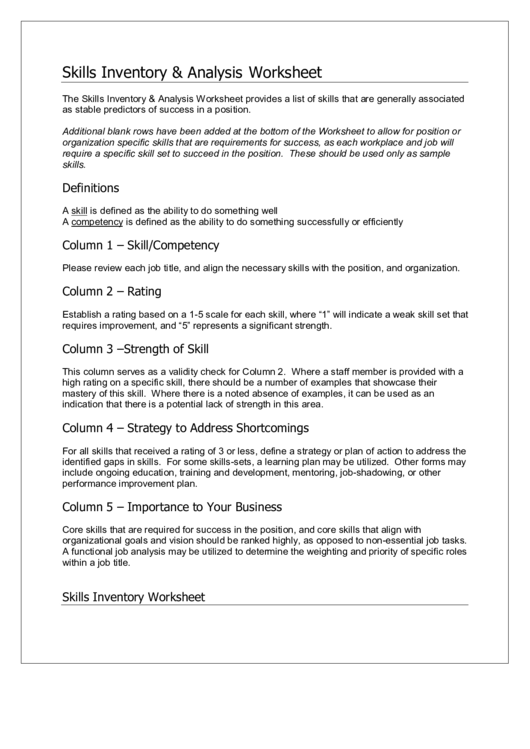 Skills Inventory & Analysis Worksheet Printable pdf