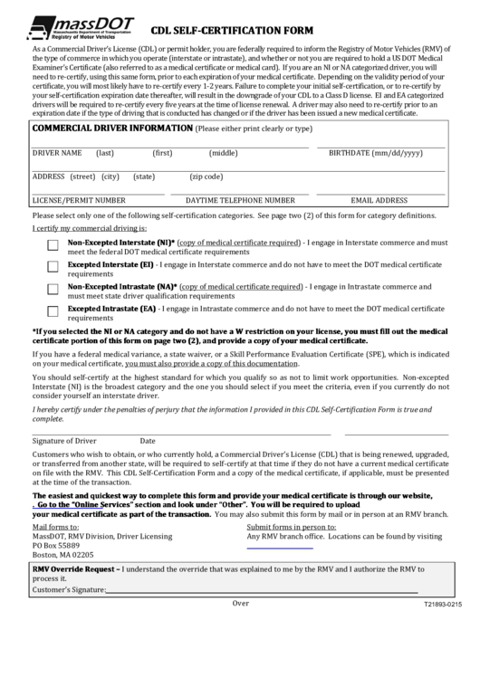 Massdot Cdl Self-certification Form - T21893-0215 printable pdf ...