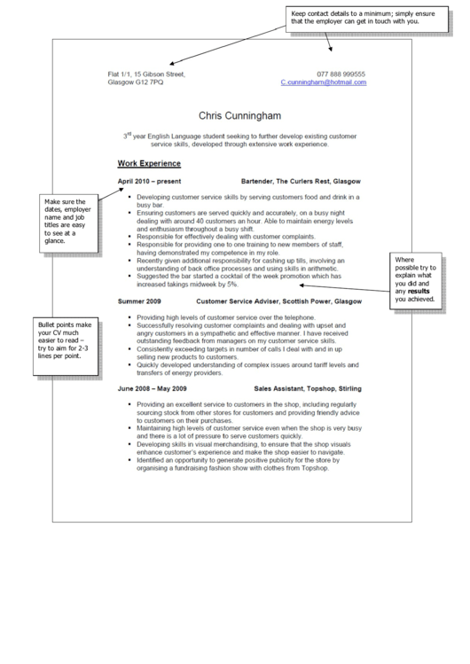 Sample Part Time Job Resume Printable pdf