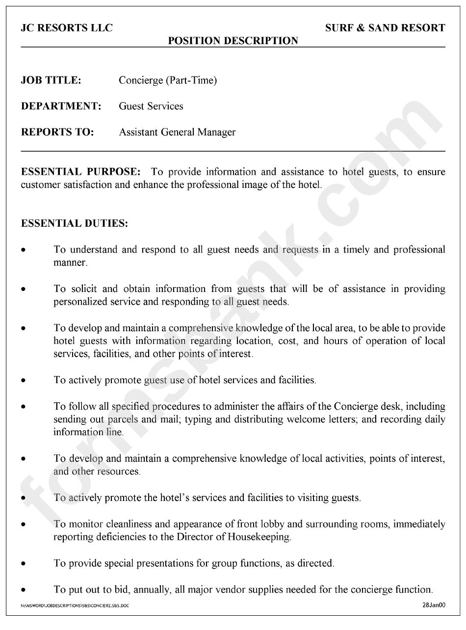 Position Description Concierge