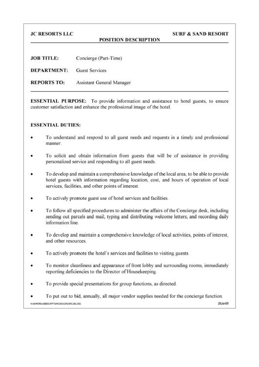 Position Description Concierge Printable pdf