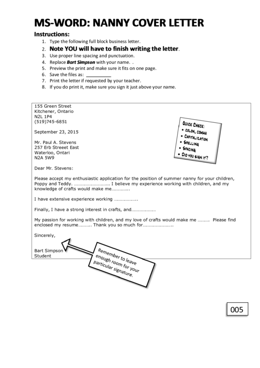 Nanny Cover Letter Resume Printable pdf
