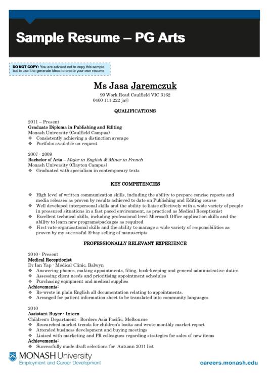 Sample Resume - Pg Arts