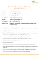 Neilson Business Development Manager Job Description
