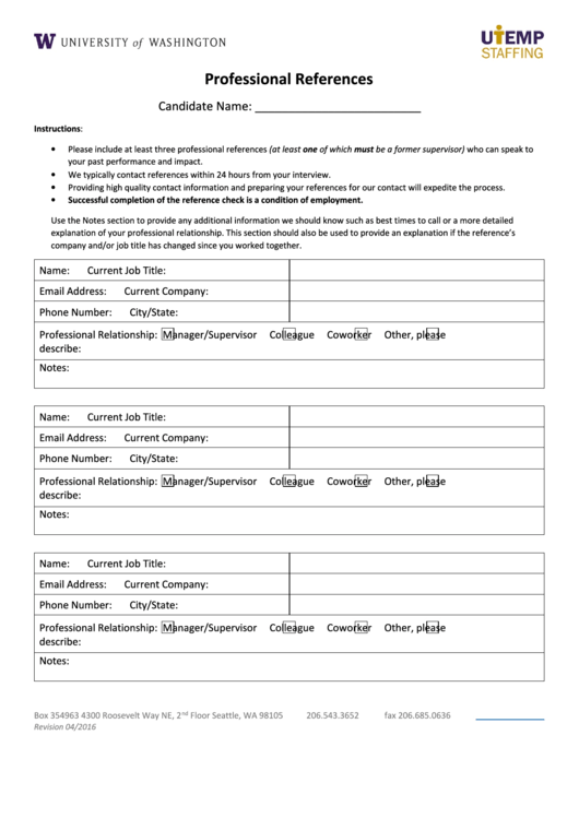 Sample Professional Reference Form Printable pdf