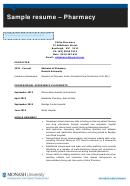 Sample Resume - Pharmacy