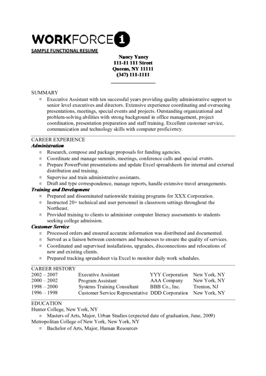 Workforce Sample Functional Resume