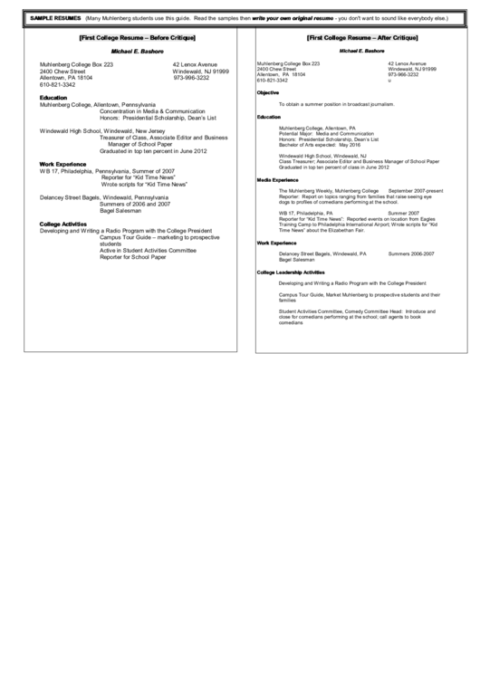 First College Resume Template - Before And After Critique