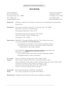 Resume By A First-year Student
