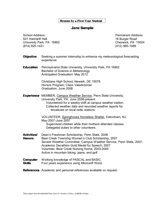 Resume By A First-Year Student Printable pdf