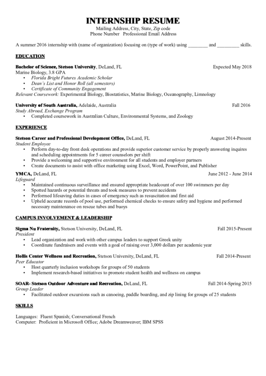 Internship Resume Sample Printable pdf