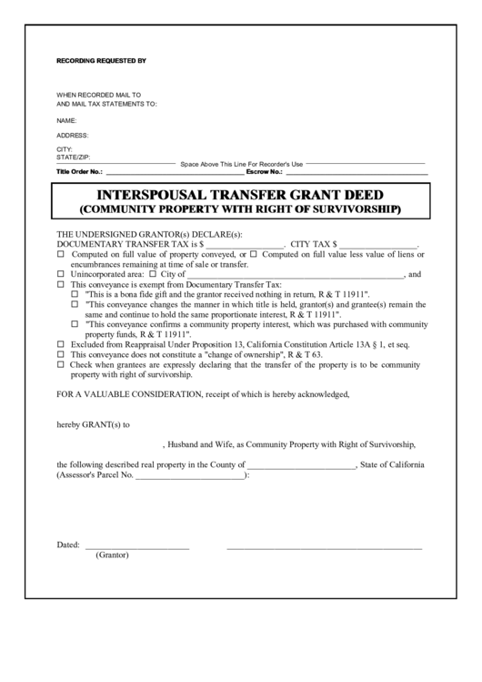 interspousal transfer grant deed form  community property
