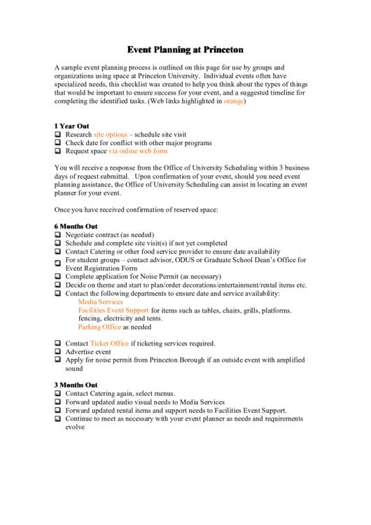 Event Planning At Princeton Printable pdf
