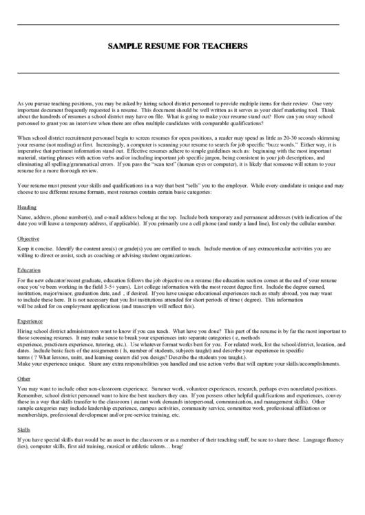 Sample Resume For Teachers Printable pdf