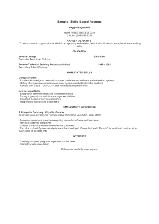 Sample: Skills-Based Resume Printable pdf
