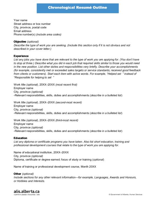 Sample Chronological Resume Outline Printable pdf