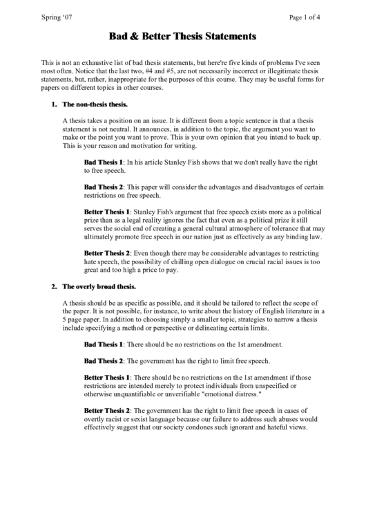 Bad & Better Thesis Statements Printable pdf