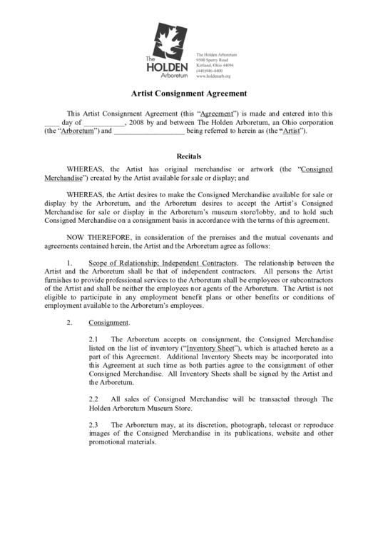 Artist Consignment Agreement Printable Pdf Download