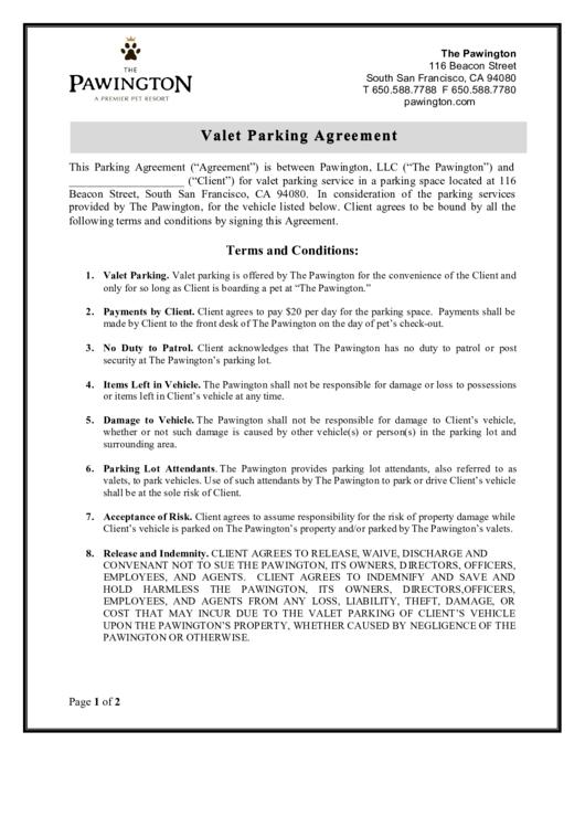 valet parking agreement printable pdf download