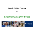 Sample Construction Safety Policy