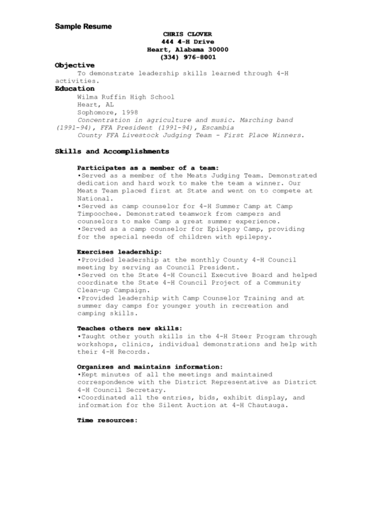 4-h Resume Template For A High School Student