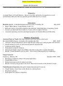 Sample Youth Ministry Resume