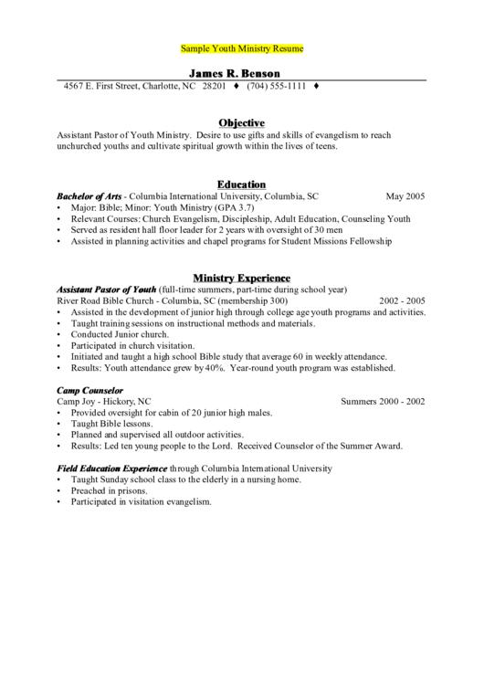 Sample Youth Ministry Resume Printable pdf
