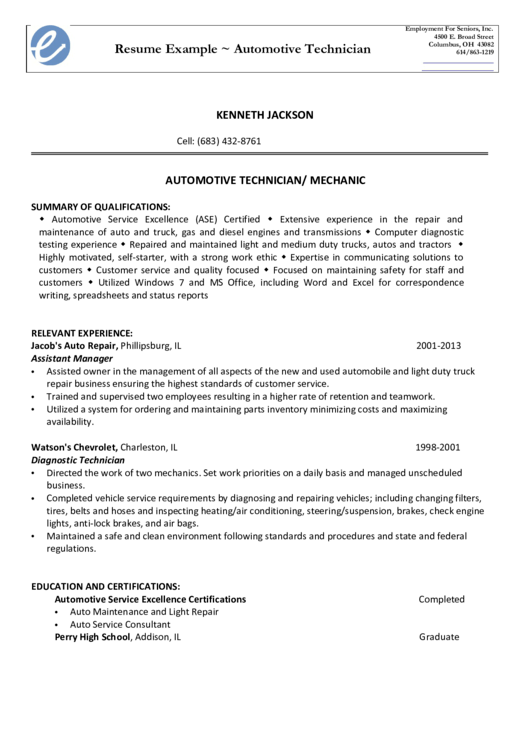 Resume Example Automotive Technician Printable pdf