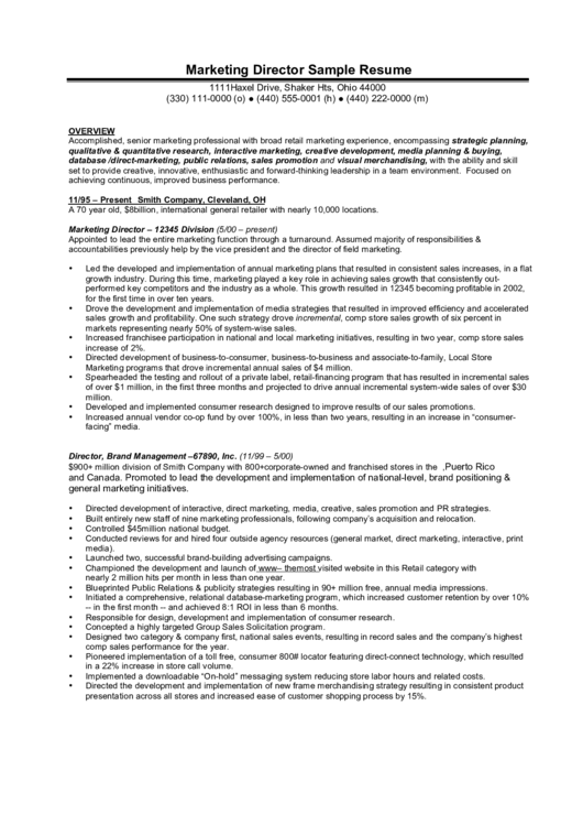 Marketing Director Sample Resume Printable pdf