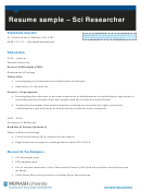 Resume Sample - Sci Researcher