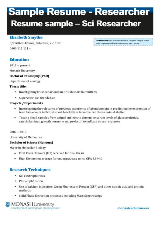 Resume Sample - Sci Researcher Printable pdf