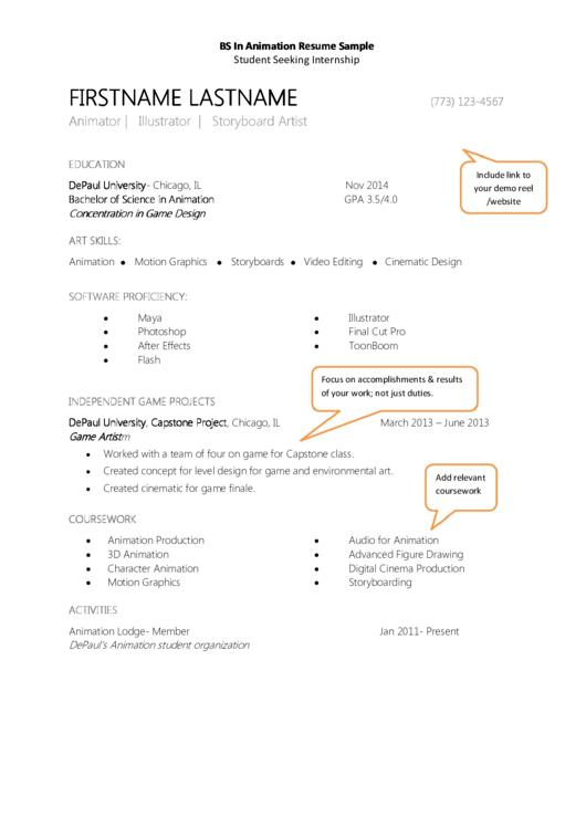 Bs In Animation Resume Sample Printable pdf