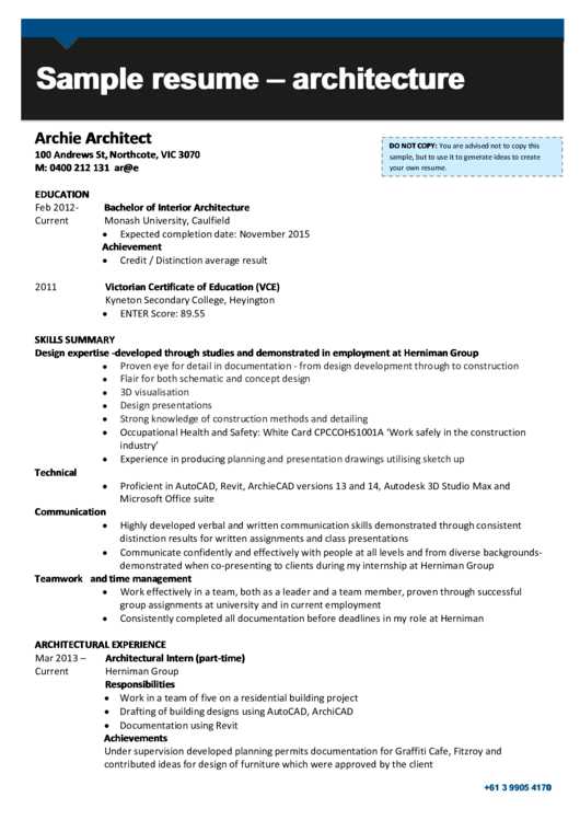 Sample Resume - Architecture Printable pdf