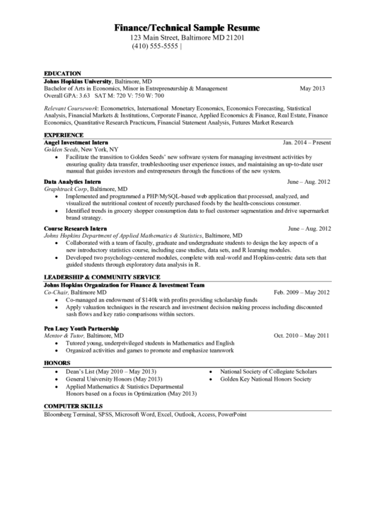 Finance Technical Sample Resume Printable pdf