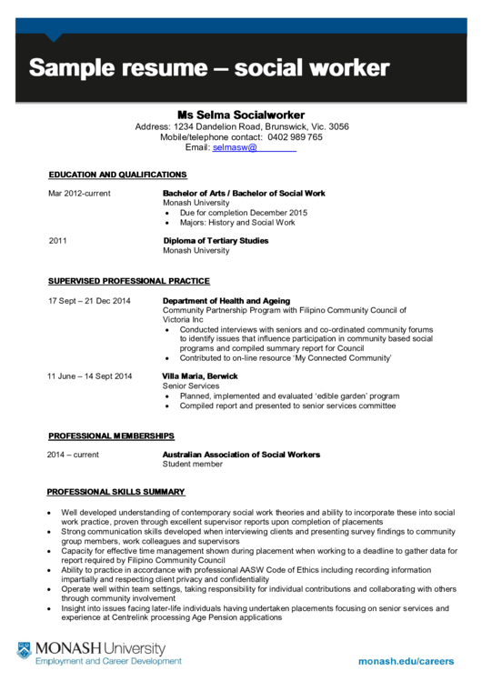 Sample Resume - Social Worker Printable pdf