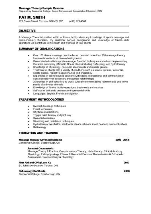 Massage Therapy Sample Resume