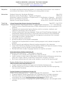 Sample Modern Language Teacher Resume