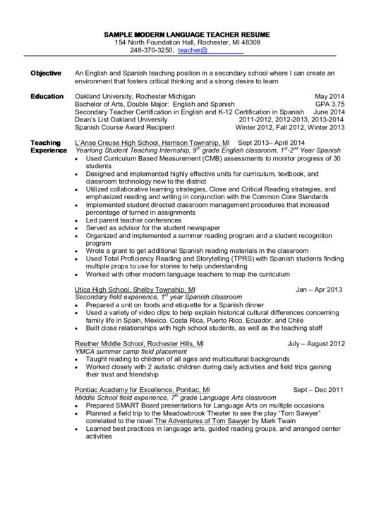 Sample Modern Language Teacher Resume Printable pdf