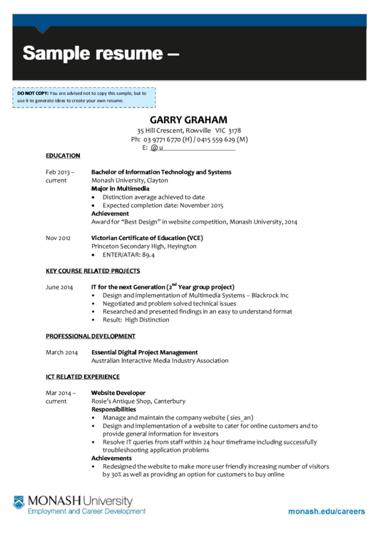 Sample Resume - I.t. Graduate Printable pdf