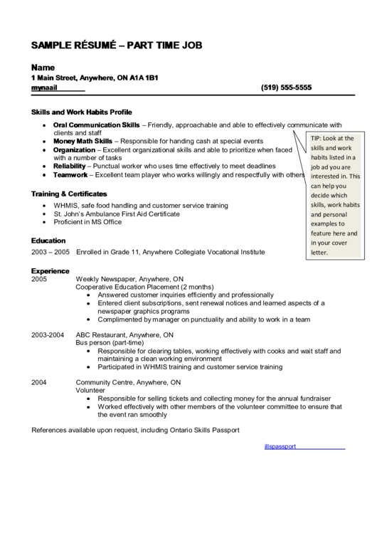 top 5 part time job resume templates free to download in