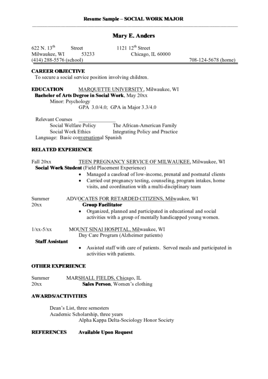 Resume Sample - Social Work Major Printable pdf