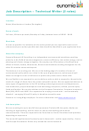 Job Description - Technical Writer