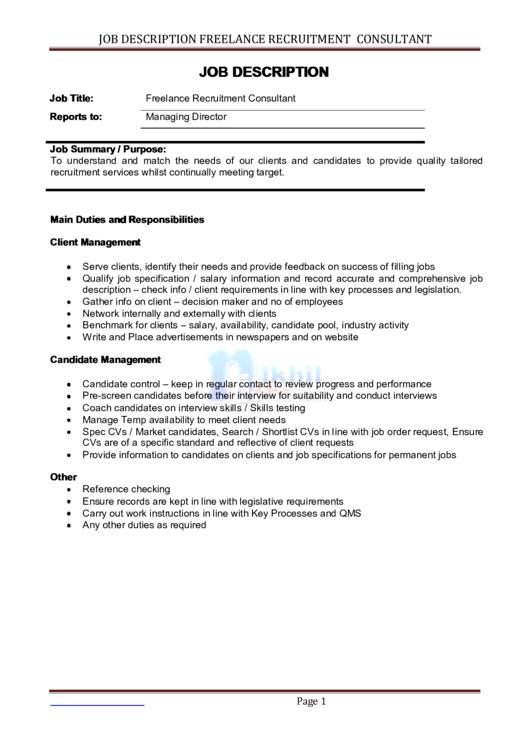Job Description Template - Freelance Recruitment Consultant Printable pdf