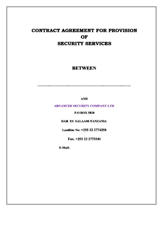 Contract Agreement For Provision Of Security Services