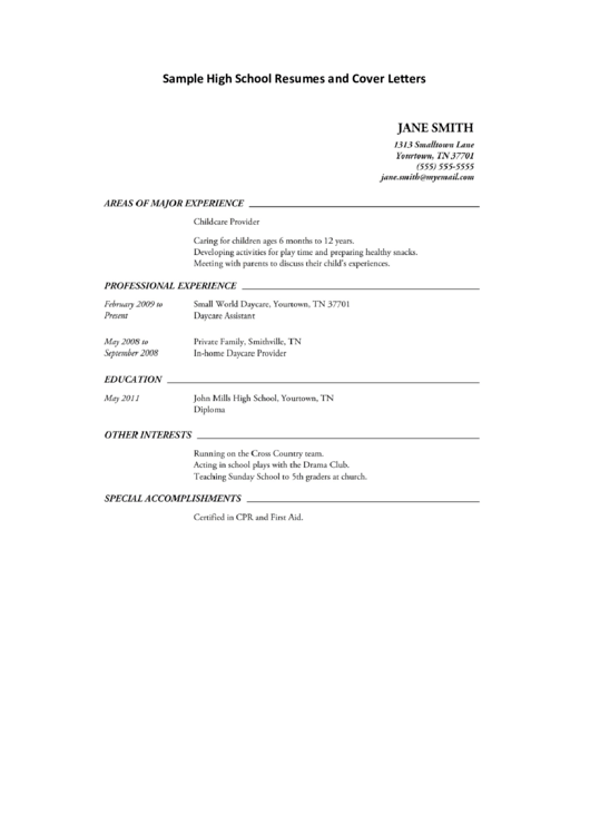 Sample High School Resumes And Cover Letters Printable pdf