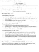 Sample Resume: Restaurant Manager