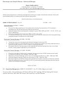 Sample Resume: Restaurant Manager